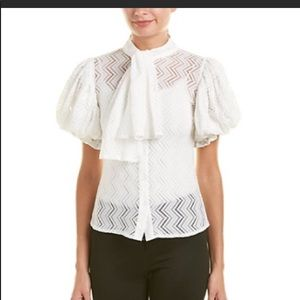 Gracia Tops - Gracia White Puff Sleeves  with Sash Blouse >Red<